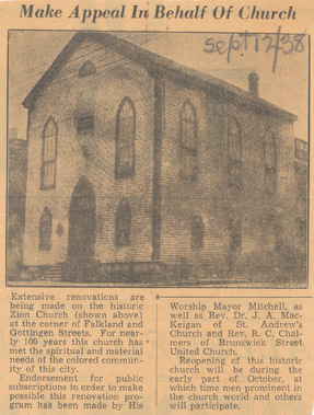 AME Zion Church - 1846-1955 - Falkland and Gottingen