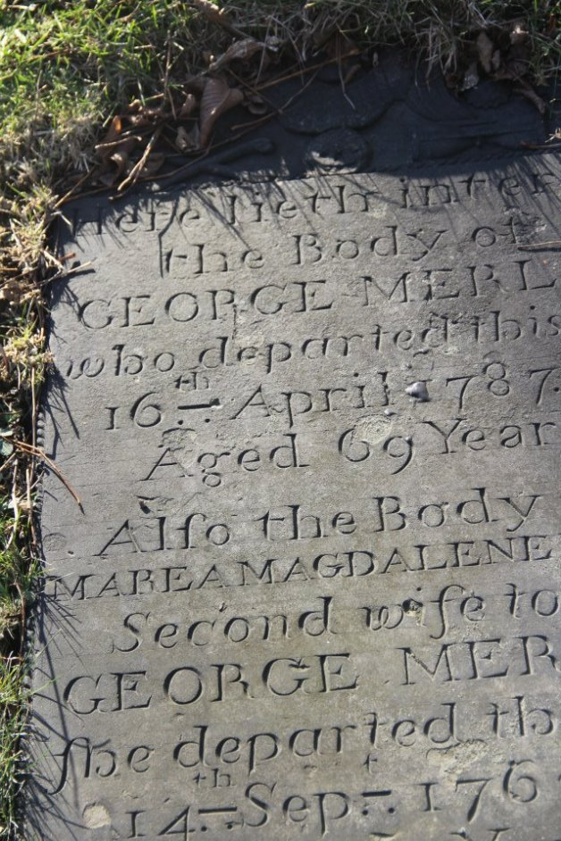 Headstone of George Merlin. Cemetery. Little Dutch Church. Halifax (photo credit: Hector Martinez)