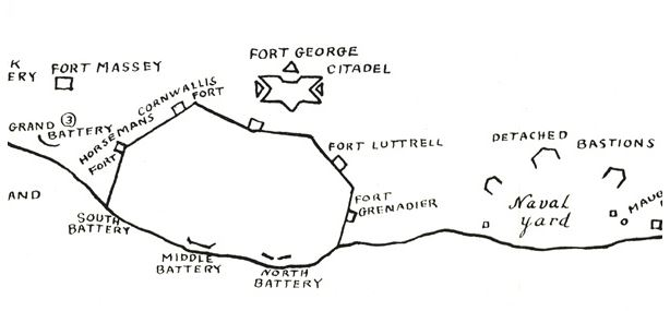 Line Drawing of principal forts, blockhouses, and batteries of Halifax's early defences.  Drawing by G. MacLaren after a map by H. Piers. 1946. (NSA)