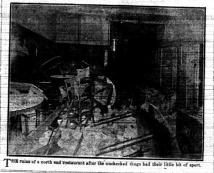 Interior of one of the Chinese restaurants damaged in 1919 riots (Halifax Herald)