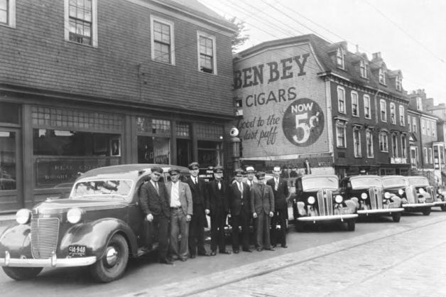 Casino Taxi drivers with their cars on Gottingen Street ca. 1937