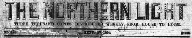 Masthead of The Northern Light ca. 1894