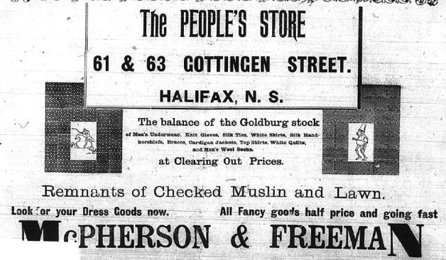 Advertisement for The People's Store 61-63 Gottingen