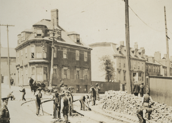 The installation of the tram tracks on Gottingen Street at Cogswell ca. 1891 - Nova Scotia Archives: Nova Scotia Light and Power Fonds, MG9, vol. 226, pg. 80.