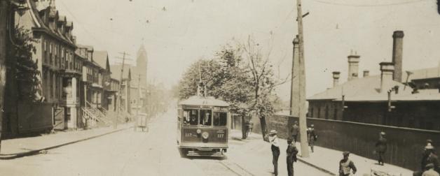 The installation of the tram tracks on Gottingen Street ca. 1895 - Nova Scotia Archives: Nova Scotia LIght and Power Fonds, MG9, vol. 226, pg. 65.