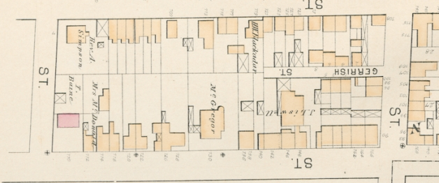 1878 Hopkins Atlas of Halifax, portion of Plate F, showing the East side of Gottingen Street between Gerrish and Cunard Streets.