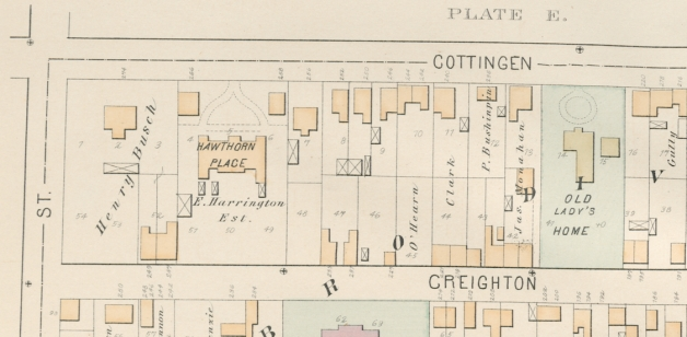 1878 Hopkins Atlas of Halifax showing portion of Plate E.